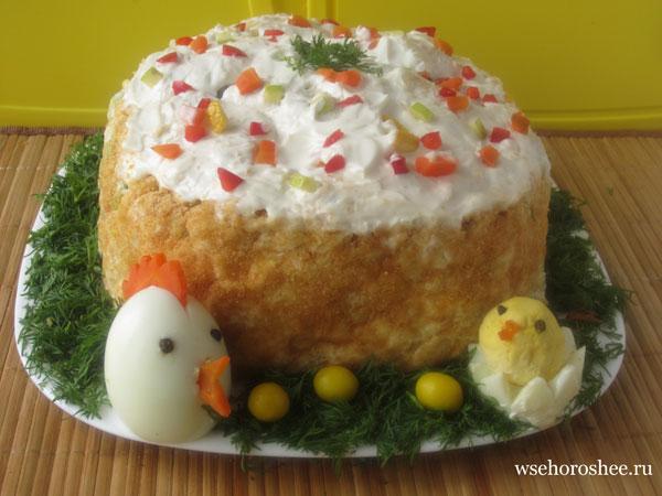 Салат пасхальный кулич рецепт с фото - с цыплятами
