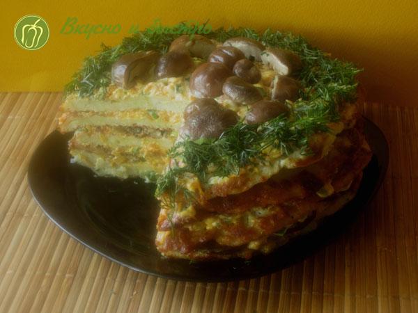 Овощной торт из кабачков - рецепт, готово