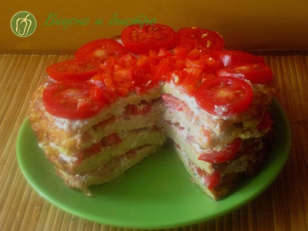 Рецепт торта из кабачков с помидорами - готово