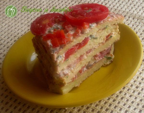 Рецепт торта из кабачков с сыром и помидорами
